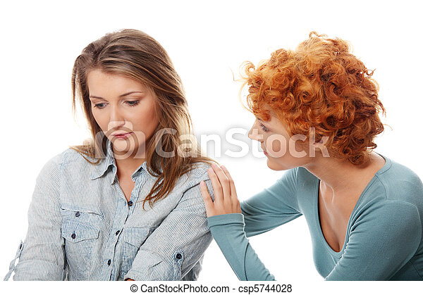 Troubled young girl comforted by her friend - csp5744028