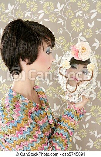 retro woman mirror fashion portrait tacky - csp5745091