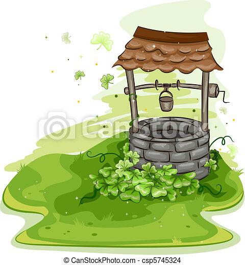 dessin de puits illustration de a puits entour par. Black Bedroom Furniture Sets. Home Design Ideas