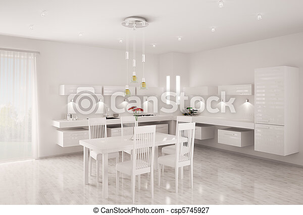 White kitchen interior 3d render - csp5745927