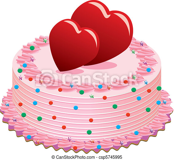 Clipart Vector of valentine cake - vector valentine cake ...