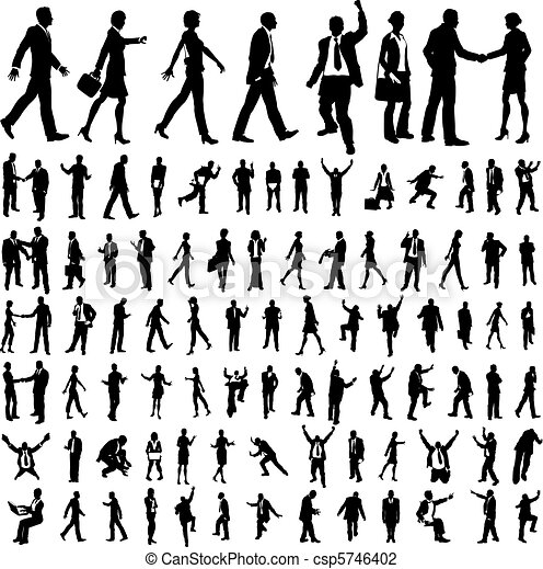 Very many high quality business people silhouettes - csp5746402