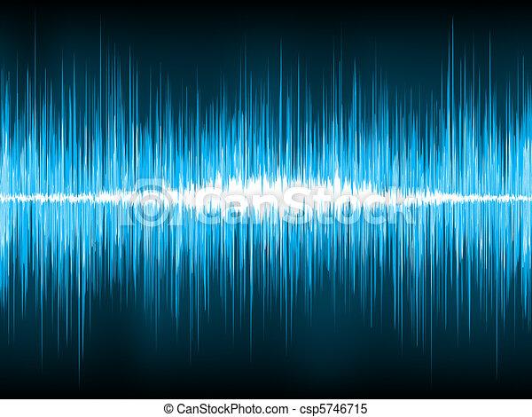 Sound waves oscillating on black background. EPS 8 - csp5746715