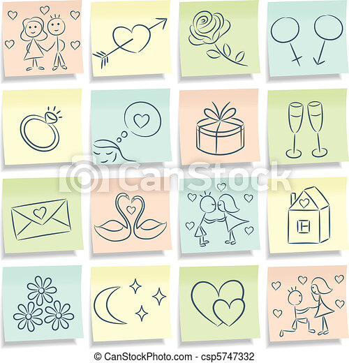 Sticky note with love pictures.  - csp5747332