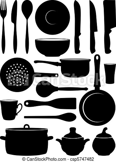 Set of silhouettes dishes.  - csp5747482