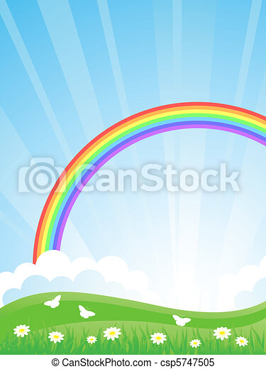 Landscape with a Rainbow. Vector il - csp5747505