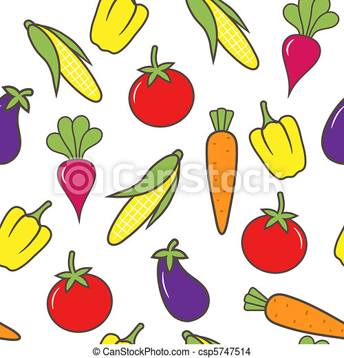 Vegetable seamless background. - csp5747514