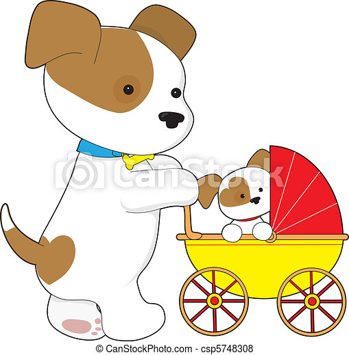 Stock Illustration of Cute bay Baby Carriage - A cute mother dog ...