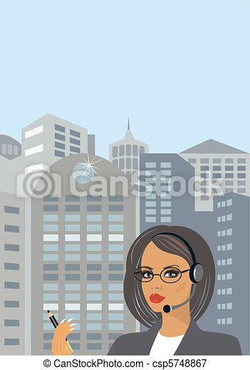 Business lady in downtown - csp5748867