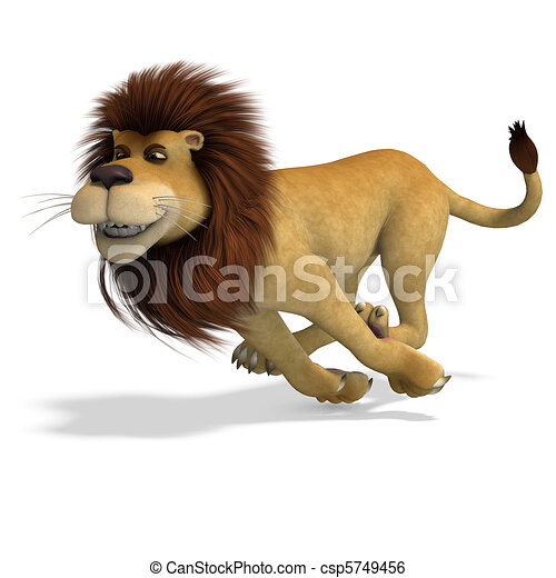 cute and funny rendering of a male cartoon lion. 3D rendering and shadow over white - csp5749456
