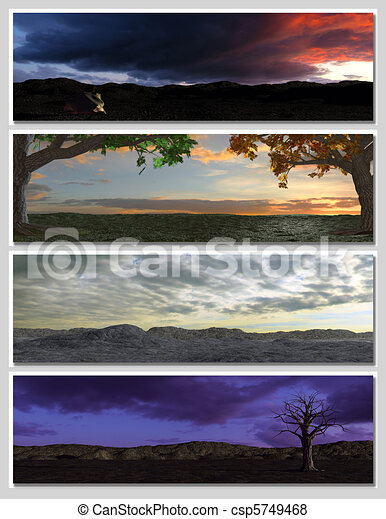four different fantasy landscapes for banner, background or illustration. 3D rendering with clouds, mountains and sunset - csp5749468