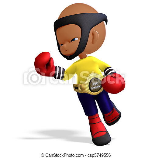 cute and funny childish cartoon boxer. 3D rendering with and shadow ...