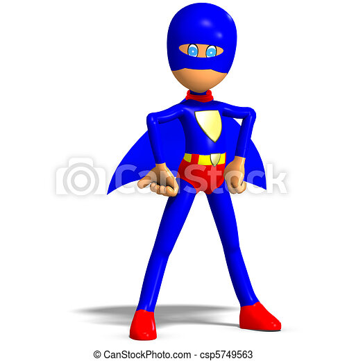funny cartoon super hero. 3D rendering and shadow over white - csp5749563