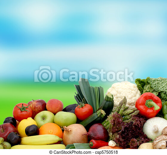 Fruit and vegetables on blurred background - csp5750518