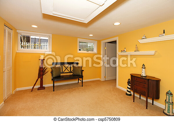 Stock photographs of yellow basement design with black for Design my basement online free