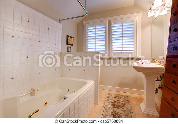 Luxury antique bathroom with white tub and tiles - csp5750834