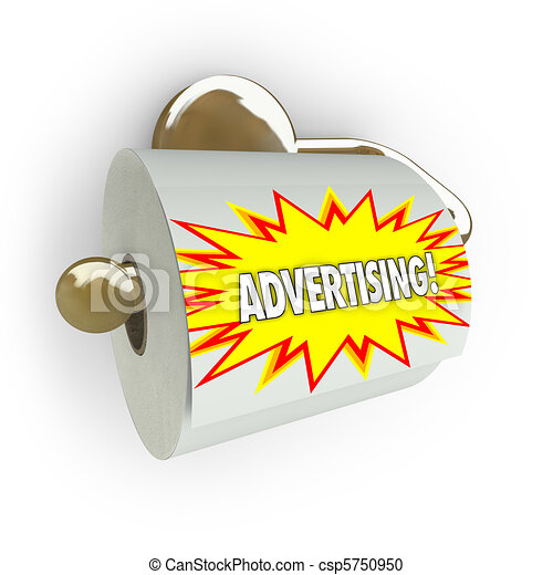 A toilet paper roll on a dispenser with the word Advertising on it, symbolizing the fact that traditional approaches to advertising are old school and ineffective in the modern age of new media - csp5750950
