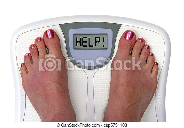 Feet on a bathroom scale with the word help! on the screen. Isolated.. - csp5751103