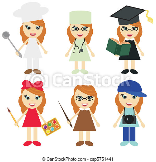 six girls of different professions - csp5751441