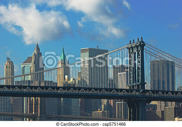 manhattan and brooklyn bridges, new york, usa - csp5751466