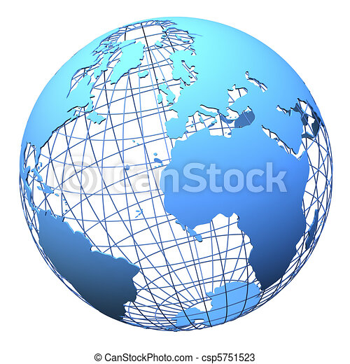 Planet earth wireframe design isolated - csp5751523