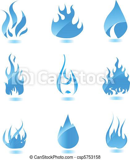 Blue glossy fire icon. Big set - csp5753158