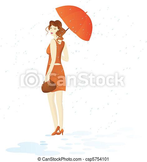 Girl walk with umbrella under rain - csp5754101