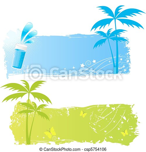 Two grungy palms banners - csp5754106