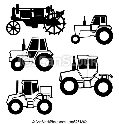 vector tractor set on white background - csp5754262