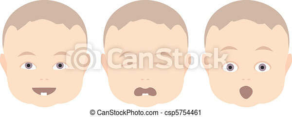 baby boy with various face expressions - csp5754461