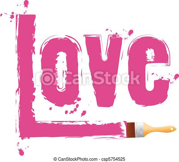 Clipart vector van verf love woord borstel borstel verf roze woord csp5754525 - Hoe roze verf ...
