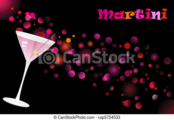 Martini cocktail on defocused illumination background - csp5754533