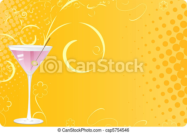 Martini glass on pink halftone background - csp5754546