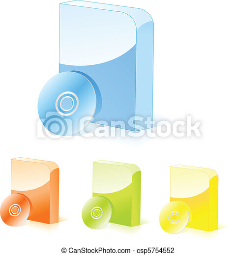 Multicolored software boxes with cd - csp5754552