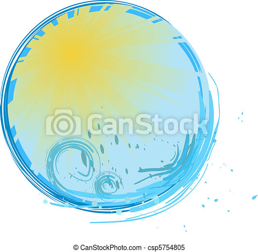 Round banner with sunshine and water splash - csp5754805