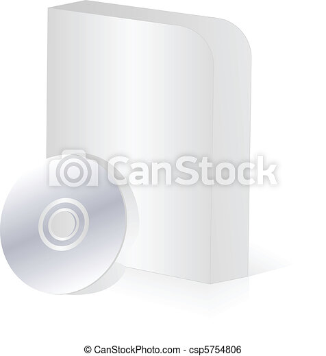 Blank round corner software box with cd disk - csp5754806