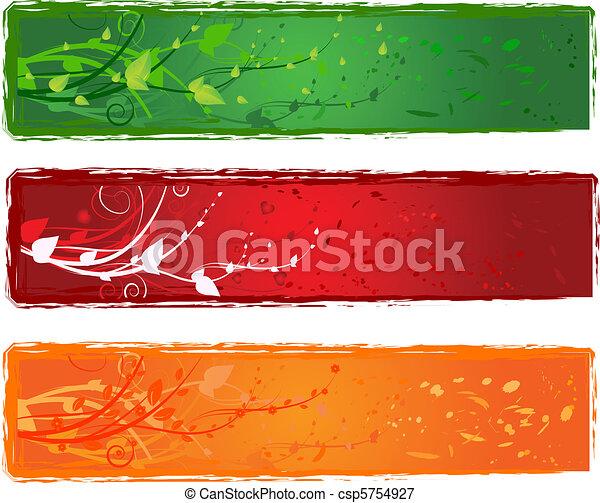 Three banner with swirl design - csp5754927