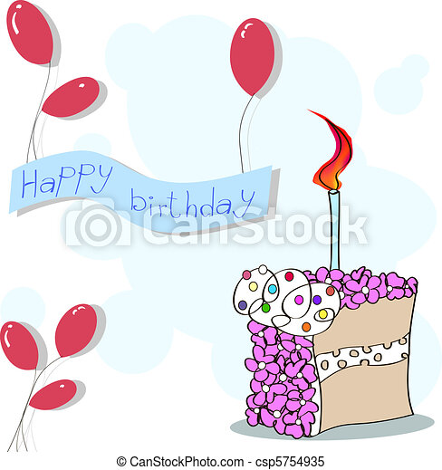 happy birthday card. birthday party cake, banner and  balloons. - csp5754935