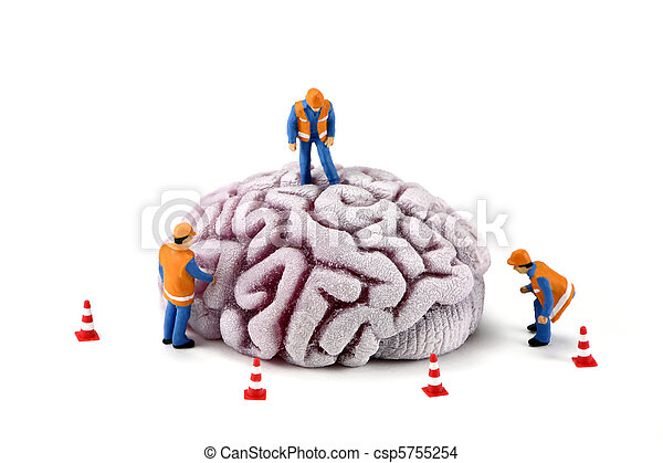 Concept: Construction workers inspecting brain - csp5755254