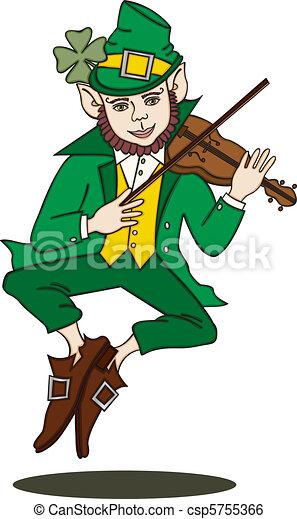 Fiddle-Playing Leprechaun Silo - csp5755366