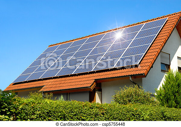 Solar panel on a red roof - csp5755448