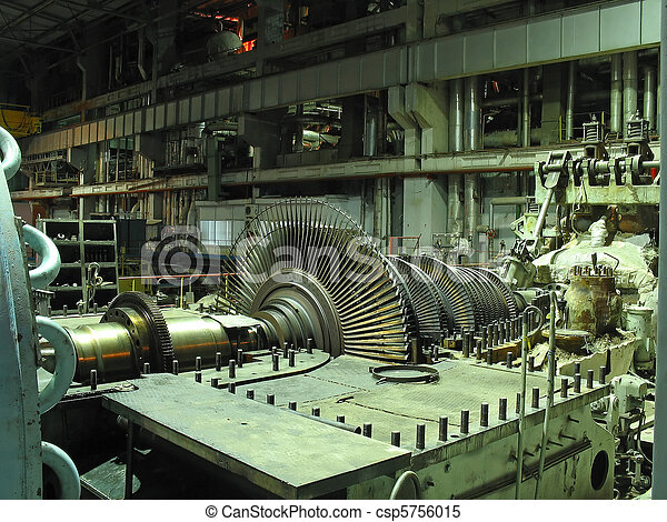Power generator steam turbine during repair, machinery, pipes, tubes at a power plant, night scene - csp5756015