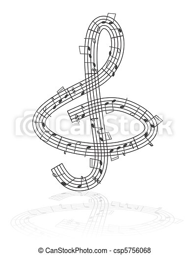treble clef and notes - csp5756068