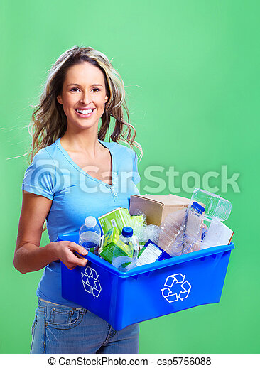 woman with a recycle bin - csp5756088