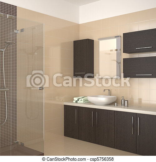 Stock Illustration   Badezimmer, Modern, Beige