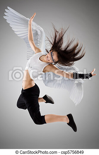 Stock Photographs Of The Flying Girl - Young Woman With ...