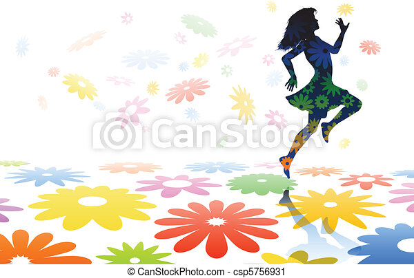 Skipping girl - csp5756931
