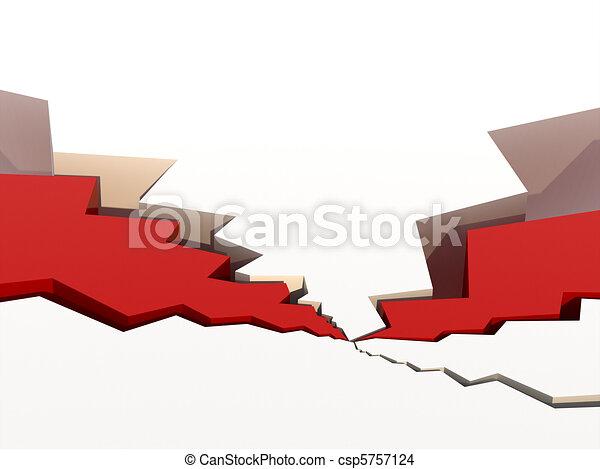 grietas, rellenos, superficie, rojo - csp5757124