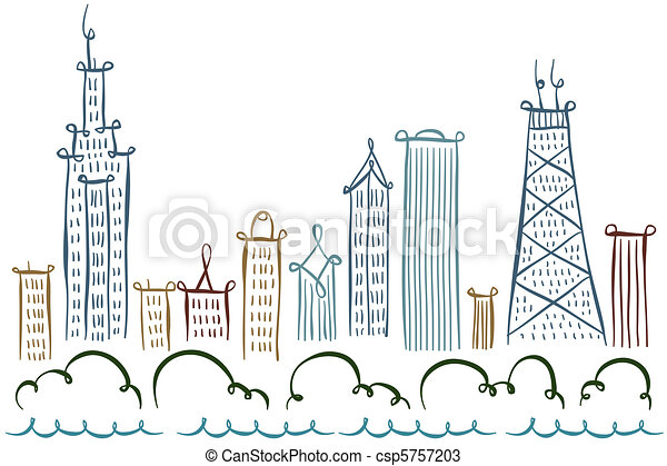 Chicago Skyline Drawings Chicago Skyline Csp5757203