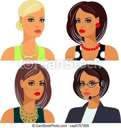 hairstyles, makeup and accessories - csp5757309